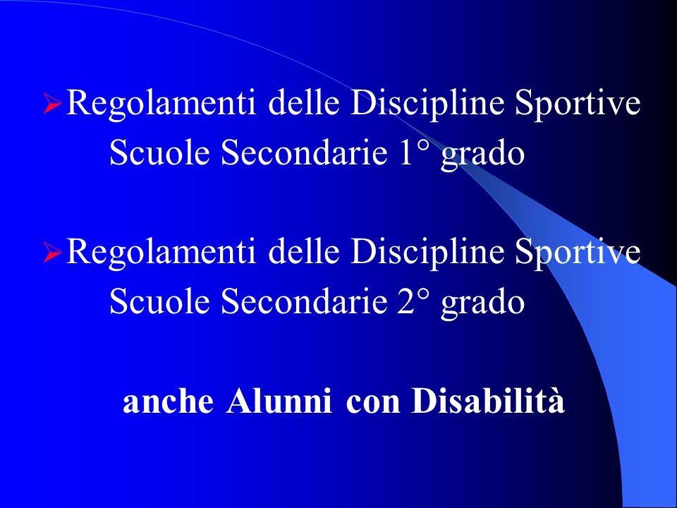 Regolamenti delle Discipline Sportive Scuole Secondarie 1° grado Regolamenti delle Discipline Sportive Scuole Secondarie 2° grado anche Alunni con Dis
