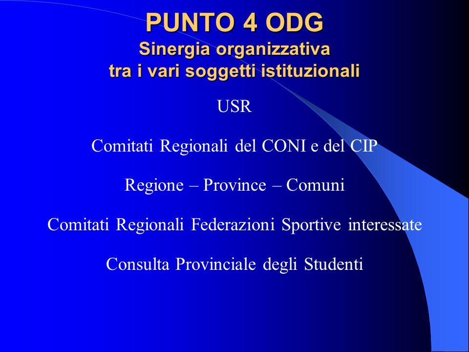 PUNTO 4 ODG Sinergia organizzativa tra i vari soggetti istituzionali USR Comitati Regionali del CONI e del CIP Regione – Province – Comuni Comitati Re