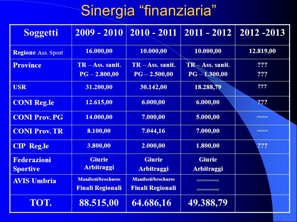 Sinergia finanziaria Soggetti2009 - 20102010 - 20112011 - 20122012 -2013 Regione Ass. Sport 16.000,0010.000,00 12.819,00 Province TR – Ass. sanit. PG
