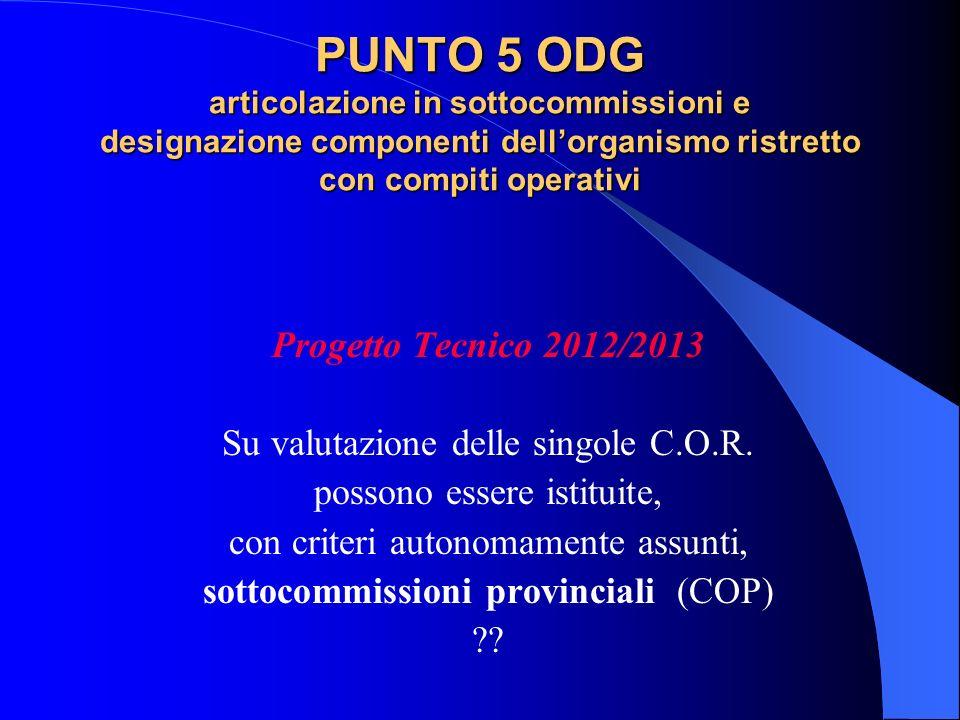 PUNTO 5 ODG articolazione in sottocommissioni e designazione componenti dellorganismo ristretto con compiti operativi Progetto Tecnico 2012/2013 Su va