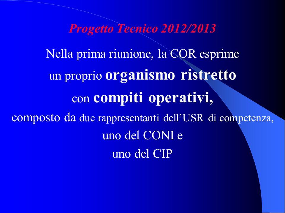 Progetto Tecnico 2012/2013 Nella prima riunione, la COR esprime un proprio organismo ristretto con compiti operativi, composto da due rappresentanti d
