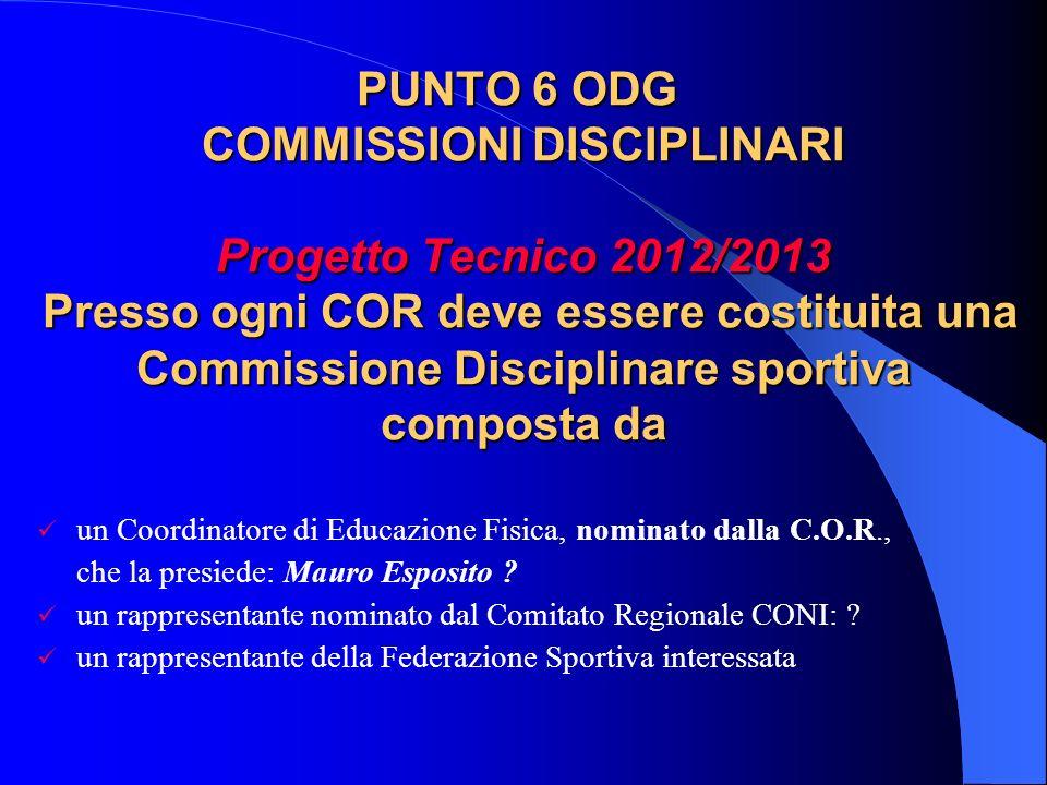 PUNTO 6 ODG COMMISSIONI DISCIPLINARI Progetto Tecnico 2012/2013 Presso ogni COR deve essere costituita una Commissione Disciplinare sportiva composta