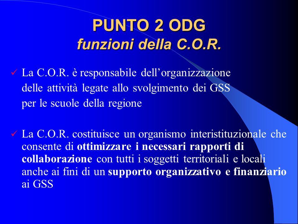 Progetto Tecnico 2012/2013 Nella prima riunione, la COR esprime un proprio organismo ristretto con compiti operativi, composto da due rappresentanti dellUSR di competenza, uno del CONI e uno del CIP
