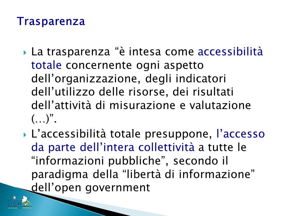 La trasparenza è intesa come accessibilità totale concernente ogni aspetto dellorganizzazione, degli indicatori dellutilizzo delle risorse, dei risultati dellattività di misurazione e valutazione (…).