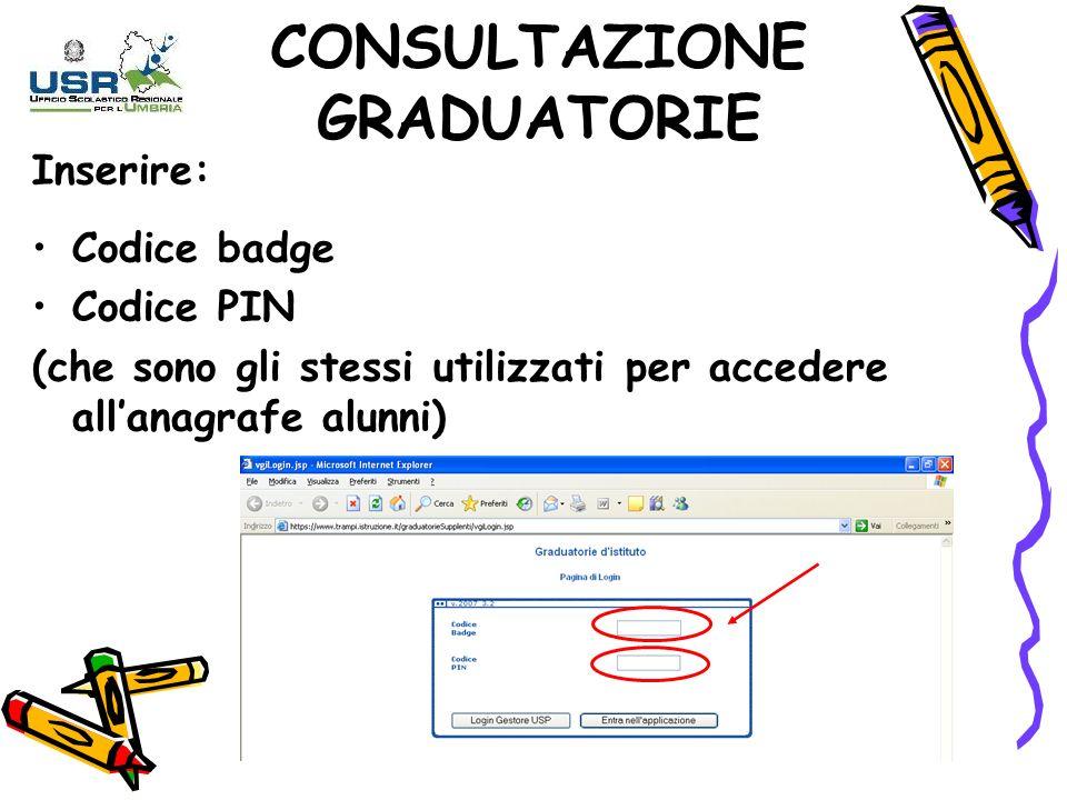 Inserire: Codice badge Codice PIN (che sono gli stessi utilizzati per accedere allanagrafe alunni) CONSULTAZIONE GRADUATORIE