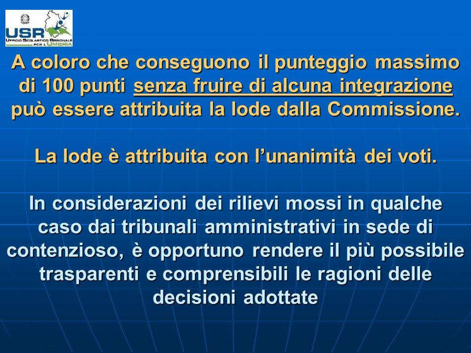 A coloro che conseguono il punteggio massimo di 100 punti senza fruire di alcuna integrazione può essere attribuita la lode dalla Commissione.