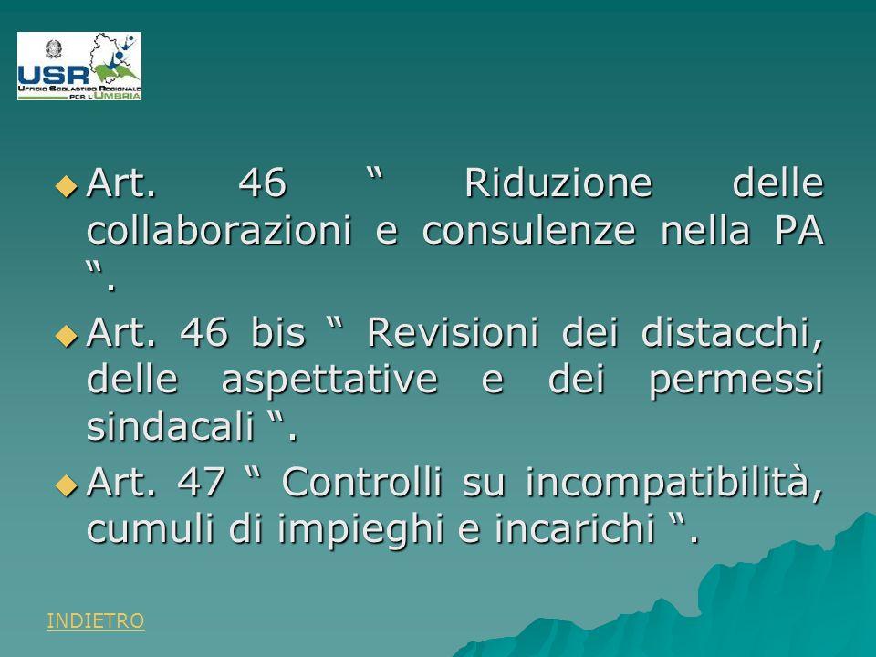 Art. 46 Riduzione delle collaborazioni e consulenze nella PA.