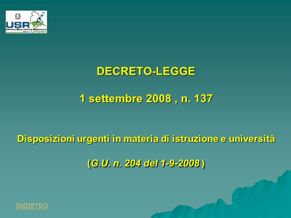 DECRETO-LEGGE 1 settembre 2008, n.
