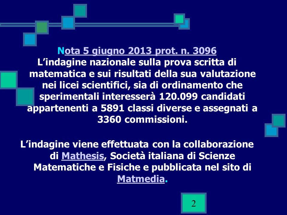 2 Nota 5 giugno 2013 prot. n. 3096ota 5 giugno 2013 prot. n. 3096 Lindagine nazionale sulla prova scritta di matematica e sui risultati della sua valu