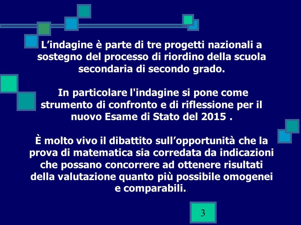 3 Lindagine è parte di tre progetti nazionali a sostegno del processo di riordino della scuola secondaria di secondo grado. In particolare l'indagine