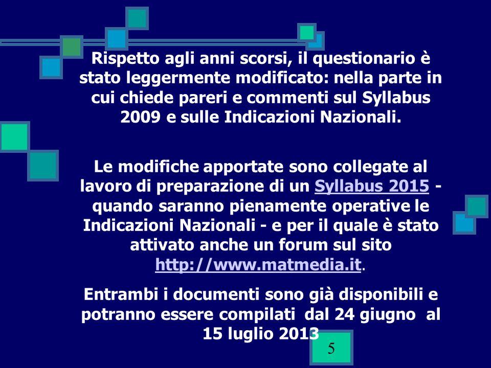5 Rispetto agli anni scorsi, il questionario è stato leggermente modificato: nella parte in cui chiede pareri e commenti sul Syllabus 2009 e sulle Indicazioni Nazionali.