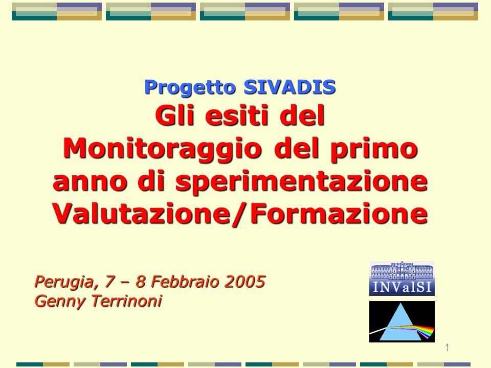 1 Progetto SIVADIS Gli esiti del Monitoraggio del primo anno di sperimentazione Valutazione/Formazione Perugia, 7 – 8 Febbraio 2005 Genny Terrinoni