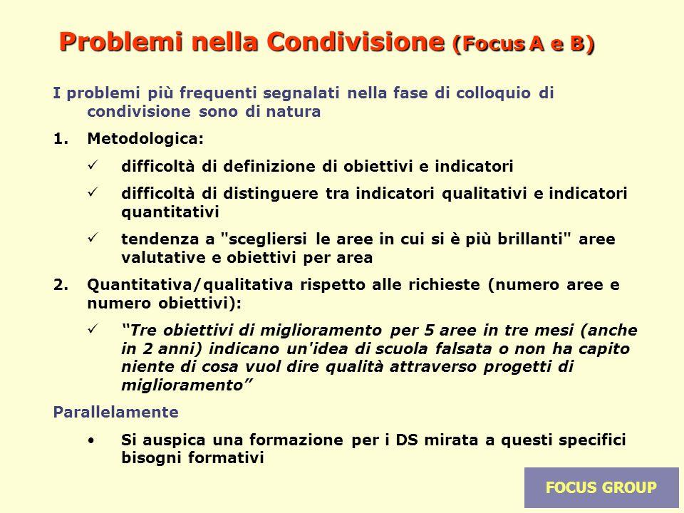 16 Problemi nella Condivisione (Focus A e B) I problemi più frequenti segnalati nella fase di colloquio di condivisione sono di natura 1.Metodologica: