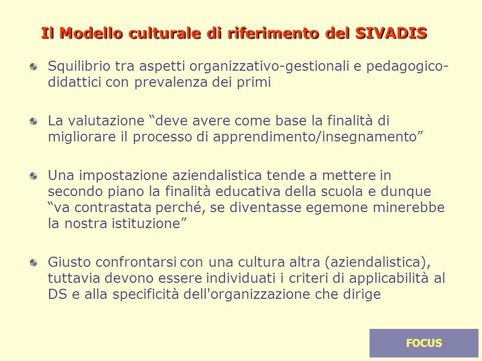 19 Il Modello culturale di riferimento del SIVADIS Squilibrio tra aspetti organizzativo-gestionali e pedagogico- didattici con prevalenza dei primi La