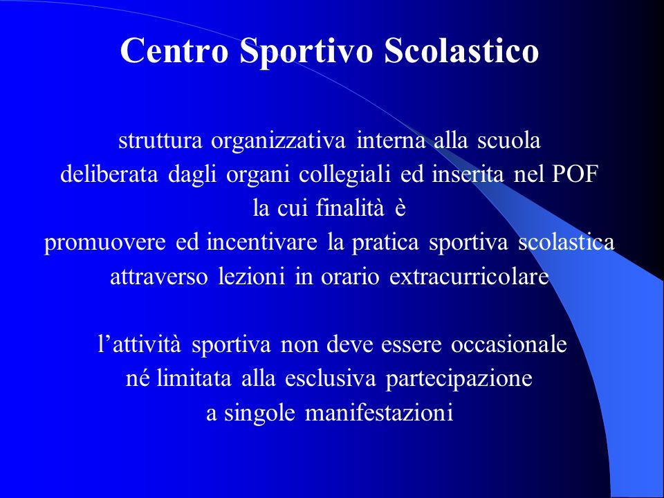 Centro Sportivo Scolastico struttura organizzativa interna alla scuola deliberata dagli organi collegiali ed inserita nel POF la cui finalità è promuo