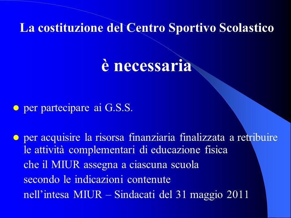 La costituzione del Centro Sportivo Scolastico è necessaria per partecipare ai G.S.S. per acquisire la risorsa finanziaria finalizzata a retribuire le