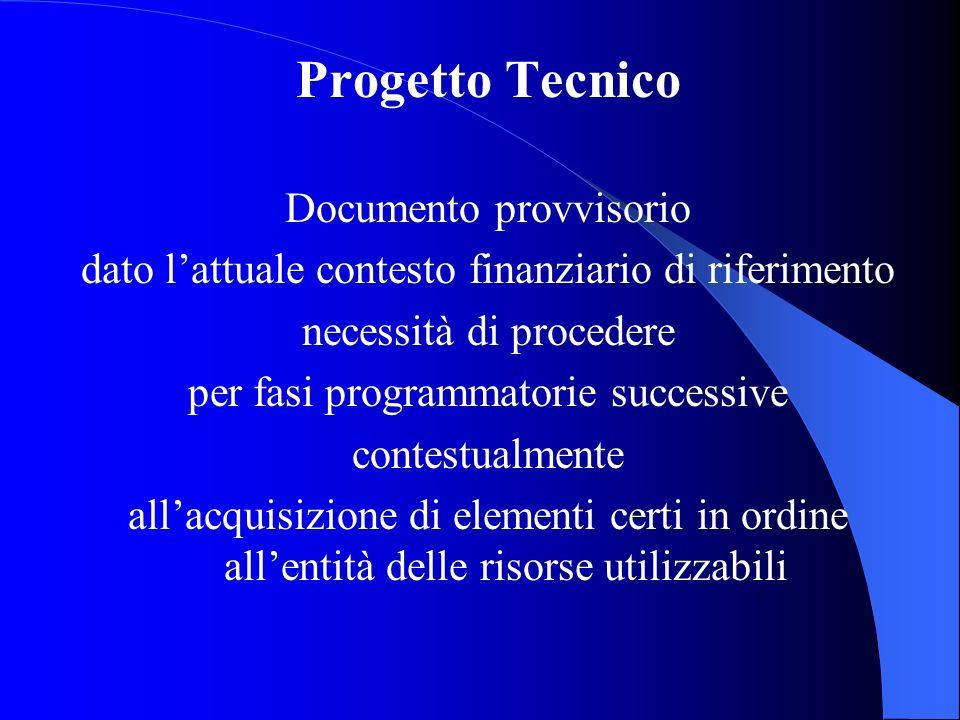 Progetto Tecnico Documento provvisorio dato lattuale contesto finanziario di riferimento necessità di procedere per fasi programmatorie successive con