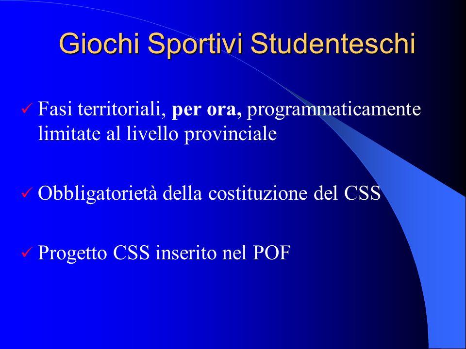 Giochi Sportivi Studenteschi Fasi territoriali, per ora, programmaticamente limitate al livello provinciale Obbligatorietà della costituzione del CSS Progetto CSS inserito nel POF