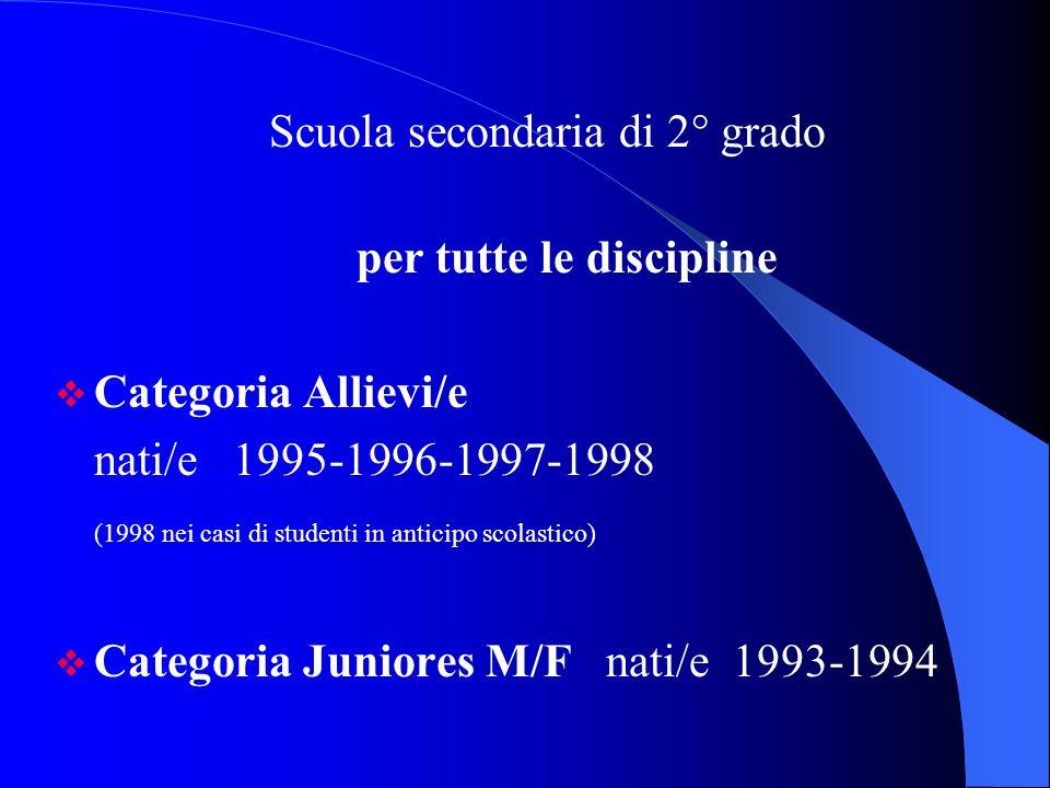 Scuola secondaria di 2° grado per tutte le discipline Categoria Allievi/e nati/e 1995-1996-1997-1998 (1998 nei casi di studenti in anticipo scolastico) Categoria Juniores M/F nati/e 1993-1994