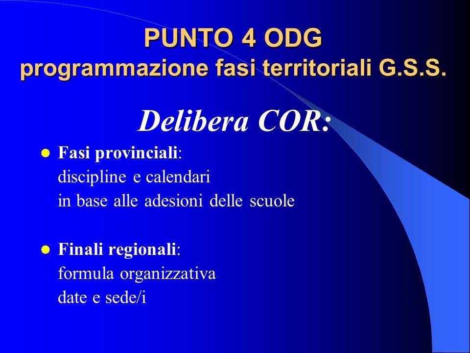 PUNTO 4 ODG programmazione fasi territoriali G.S.S. Delibera COR: Fasi provinciali: discipline e calendari in base alle adesioni delle scuole Finali r