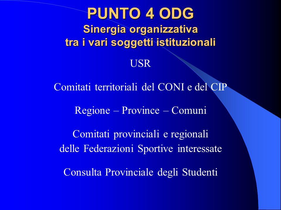 PUNTO 4 ODG Sinergia organizzativa tra i vari soggetti istituzionali USR Comitati territoriali del CONI e del CIP Regione – Province – Comuni Comitati