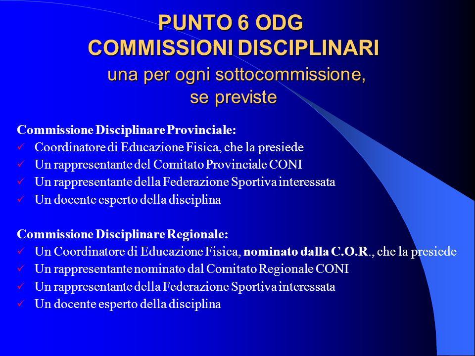 PUNTO 6 ODG COMMISSIONI DISCIPLINARI una per ogni sottocommissione, se previste Commissione Disciplinare Provinciale: Coordinatore di Educazione Fisic