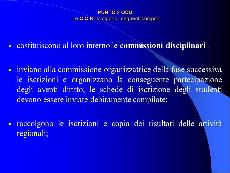 PUNTO 2 ODG Le C.O.R. svolgono i seguenti compiti: costituiscono al loro interno le commissioni disciplinari ; inviano alla commissione organizzatrice