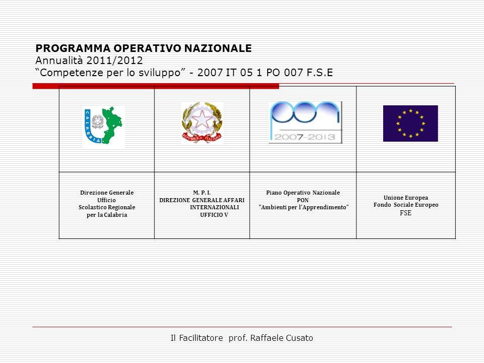 PROGRAMMA OPERATIVO NAZIONALE Annualità 2011/2012 Competenze per lo sviluppo - 2007 IT 05 1 PO 007 F.S.E Direzione Generale Ufficio Scolastico Regionale per la Calabria M.