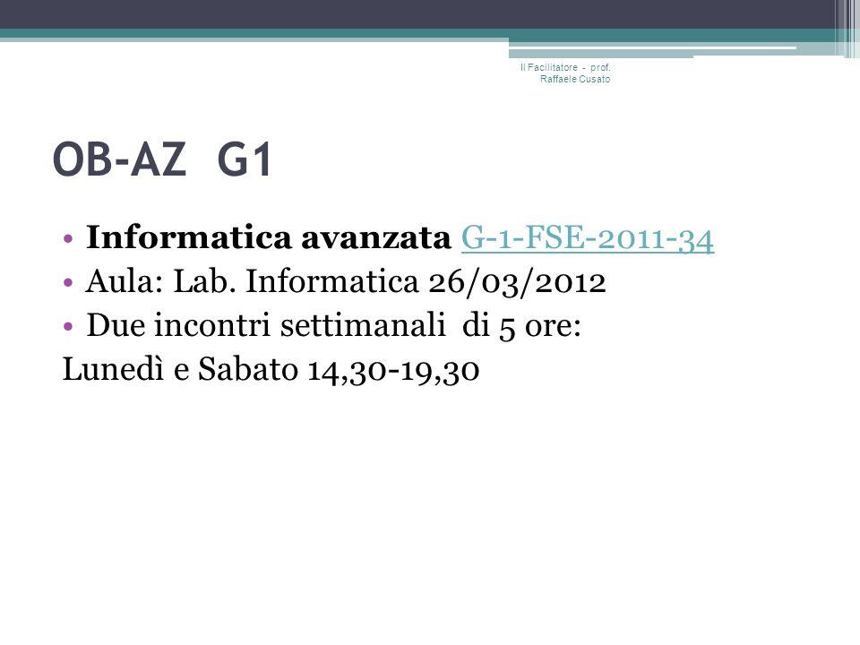 OB-AZ G1 Informatica avanzata G-1-FSE-2011-34G-1-FSE-2011-34 Aula: Lab.