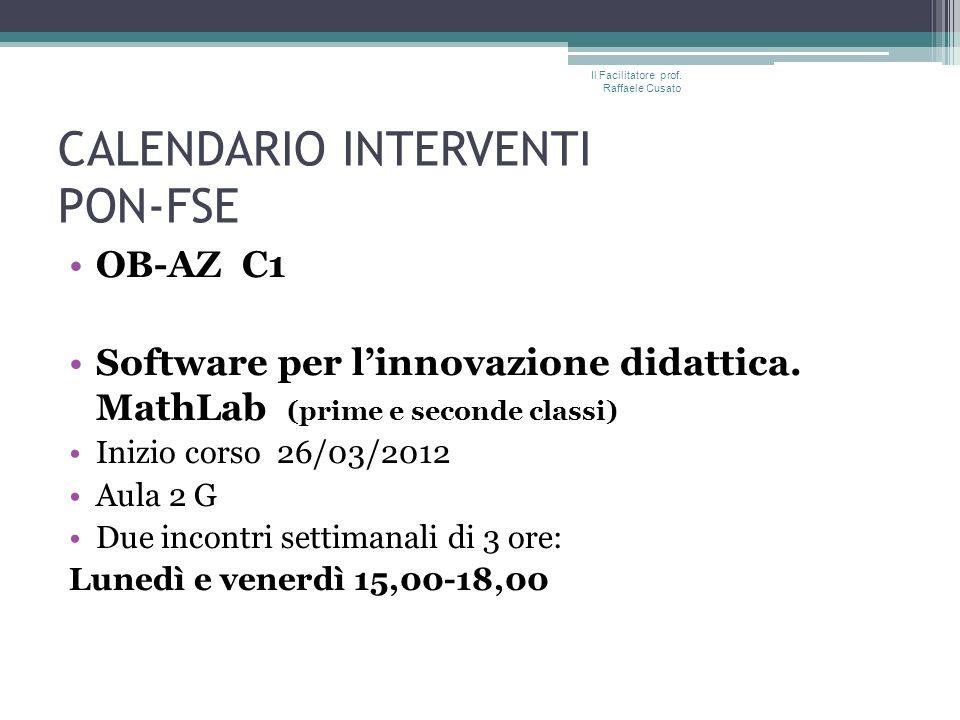 CALENDARIO INTERVENTI PON-FSE OB-AZ C1 Software per linnovazione didattica.