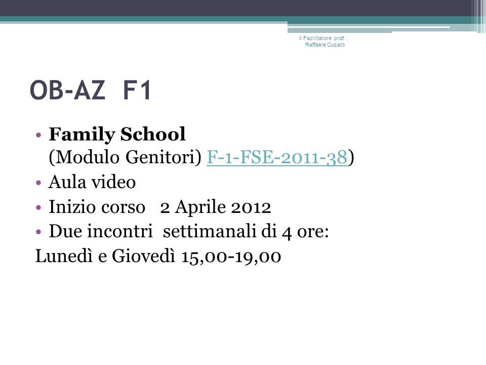 OB-AZ F1 Family School (Modulo Genitori) F-1-FSE-2011-38)F-1-FSE-2011-38 Aula video Inizio corso 2 Aprile 2012 Due incontri settimanali di 4 ore: Lunedì e Giovedì 15,00-19,00 Il Facilitatore prof.