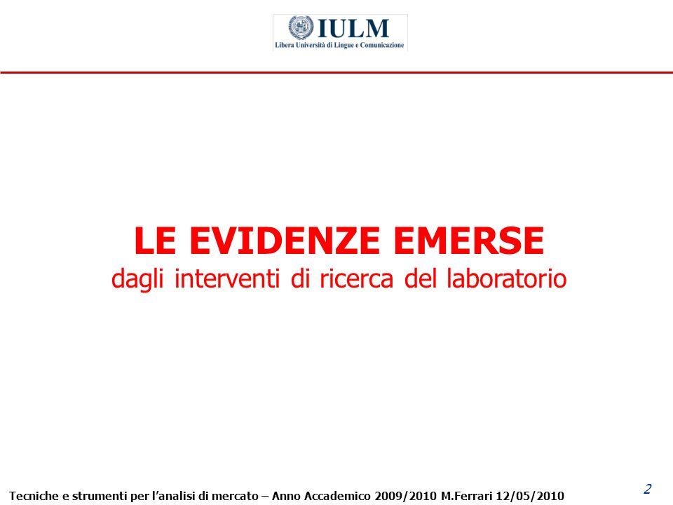 Tecniche e strumenti per lanalisi di mercato – Anno Accademico 2009/2010 M.Ferrari 12/05/2010 2 LE EVIDENZE EMERSE dagli interventi di ricerca del laboratorio