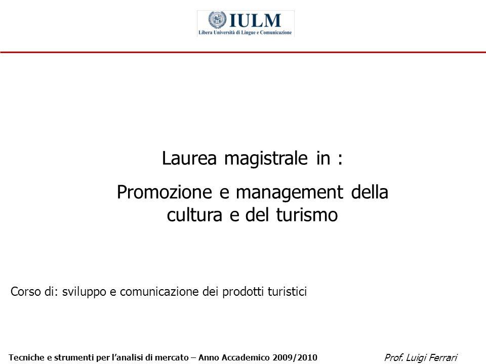 Prof. Luigi Ferrari Tecniche e strumenti per lanalisi di mercato – Anno Accademico 2009/2010 1 Laurea magistrale in : Promozione e management della cu