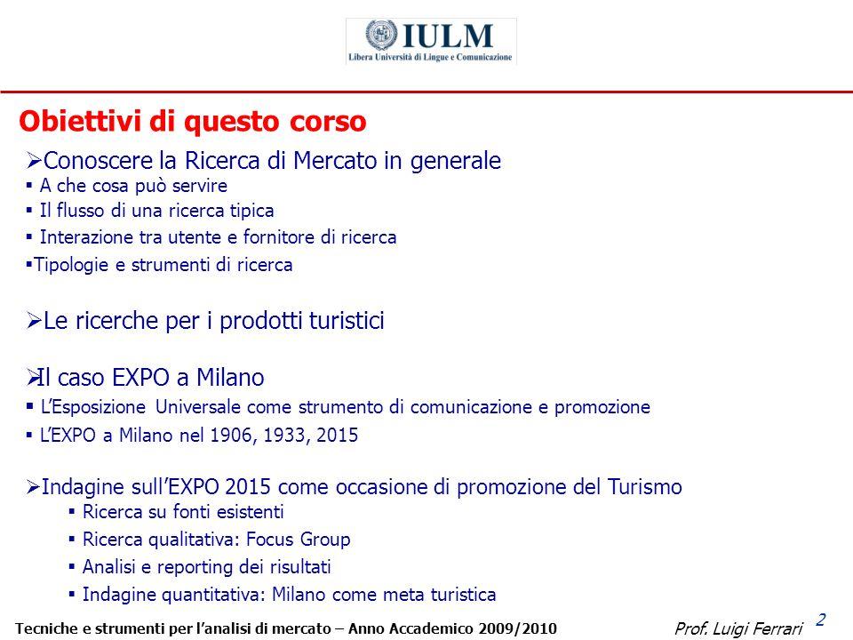 Prof. Luigi Ferrari Tecniche e strumenti per lanalisi di mercato – Anno Accademico 2009/2010 2 Conoscere la Ricerca di Mercato in generale A che cosa