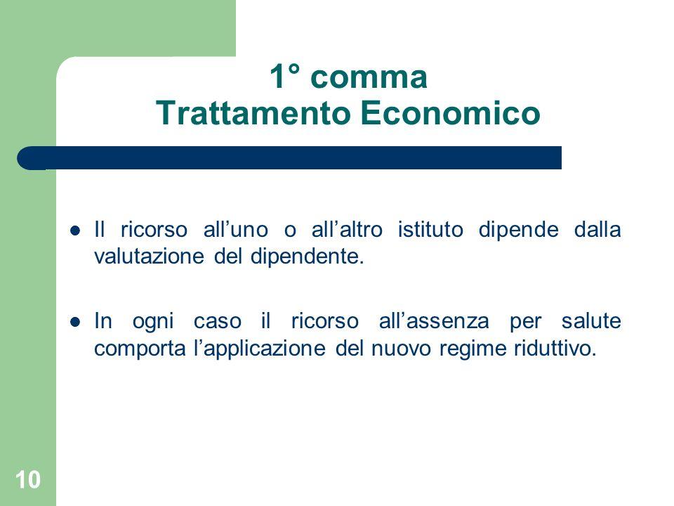 10 1° comma Trattamento Economico Il ricorso alluno o allaltro istituto dipende dalla valutazione del dipendente.