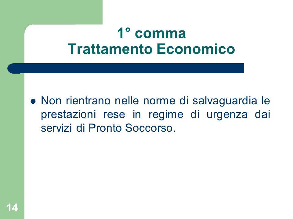 14 1° comma Trattamento Economico Non rientrano nelle norme di salvaguardia le prestazioni rese in regime di urgenza dai servizi di Pronto Soccorso.