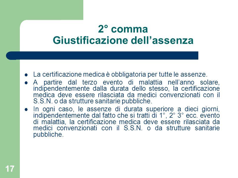 17 2° comma Giustificazione dellassenza La certificazione medica è obbligatoria per tutte le assenze.