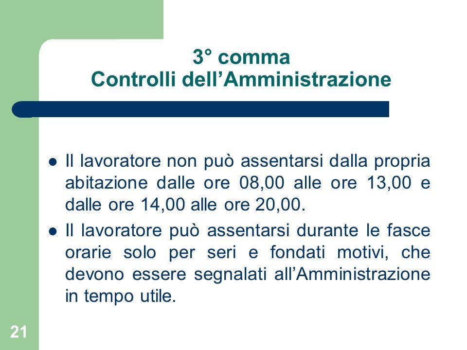 21 3° comma Controlli dellAmministrazione Il lavoratore non può assentarsi dalla propria abitazione dalle ore 08,00 alle ore 13,00 e dalle ore 14,00 alle ore 20,00.