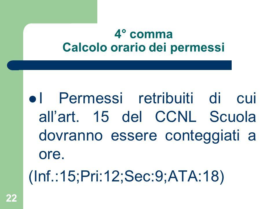 22 4° comma Calcolo orario dei permessi I Permessi retribuiti di cui allart.