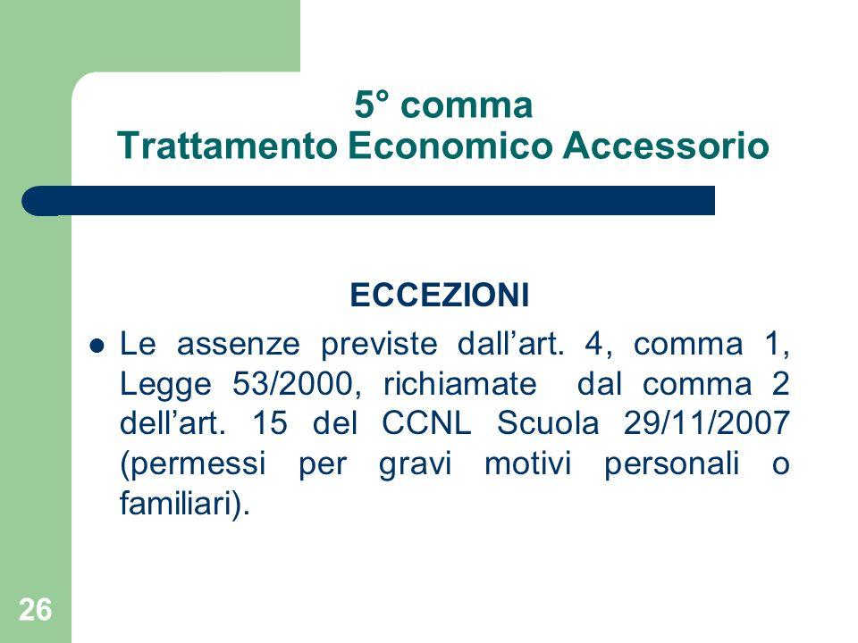 26 5° comma Trattamento Economico Accessorio ECCEZIONI Le assenze previste dallart.