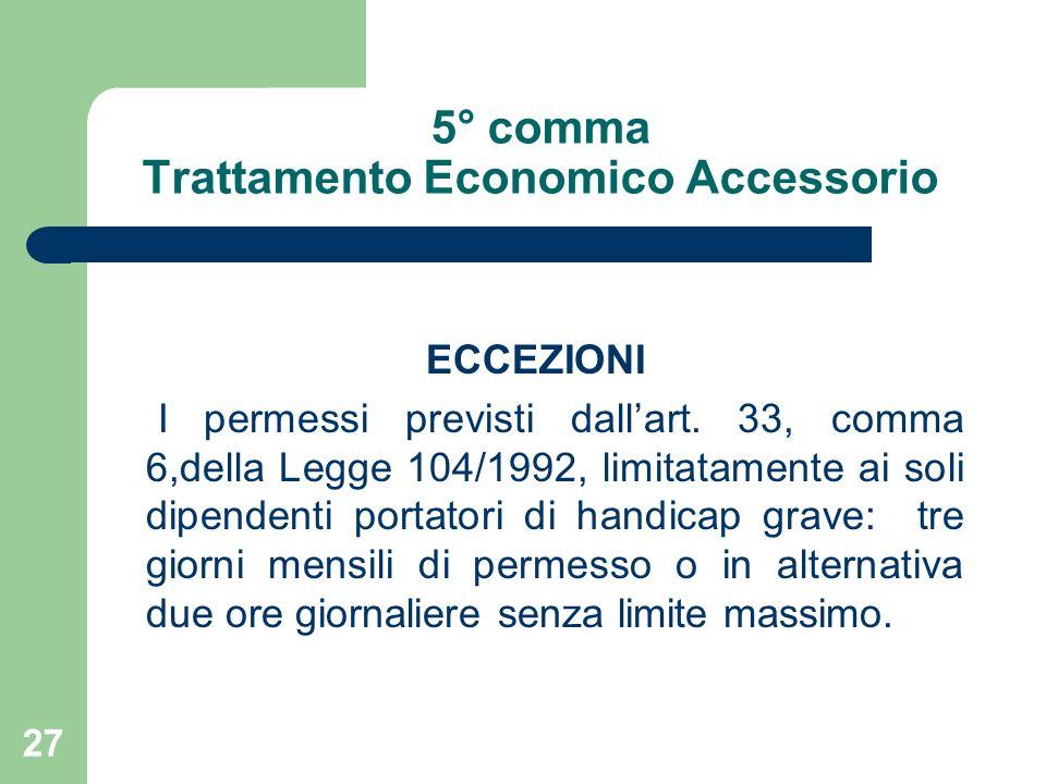 27 5° comma Trattamento Economico Accessorio ECCEZIONI I permessi previsti dallart.