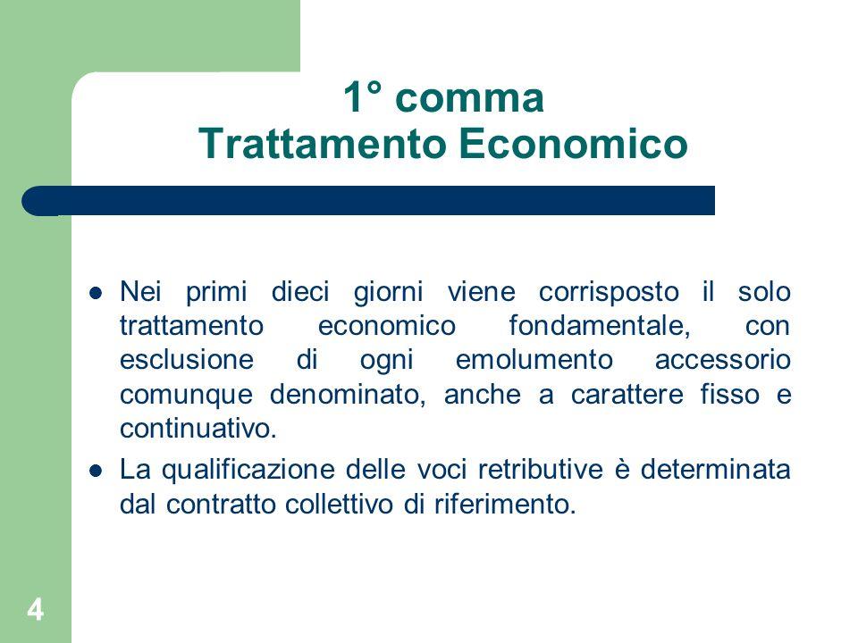 4 1° comma Trattamento Economico Nei primi dieci giorni viene corrisposto il solo trattamento economico fondamentale, con esclusione di ogni emolumento accessorio comunque denominato, anche a carattere fisso e continuativo.