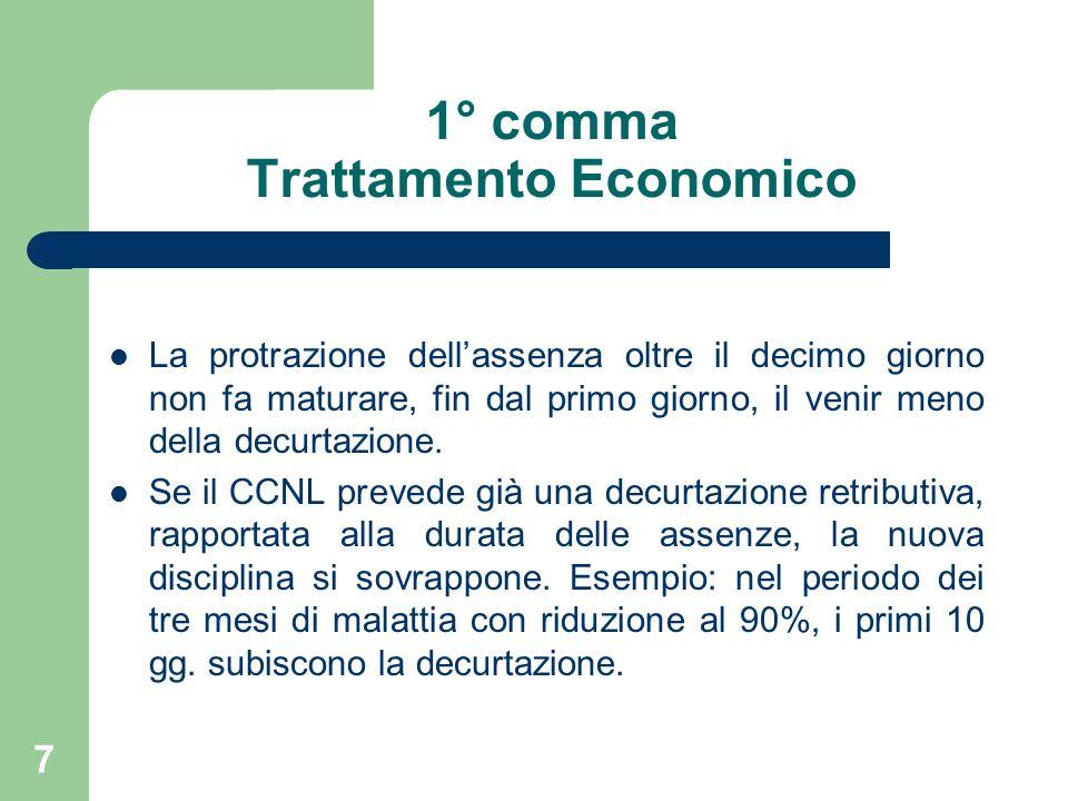 7 1° comma Trattamento Economico La protrazione dellassenza oltre il decimo giorno non fa maturare, fin dal primo giorno, il venir meno della decurtazione.