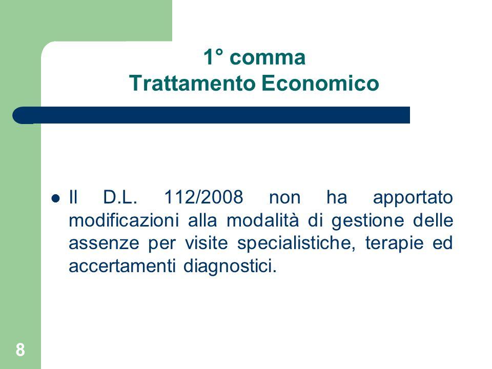 8 1° comma Trattamento Economico Il D.L.