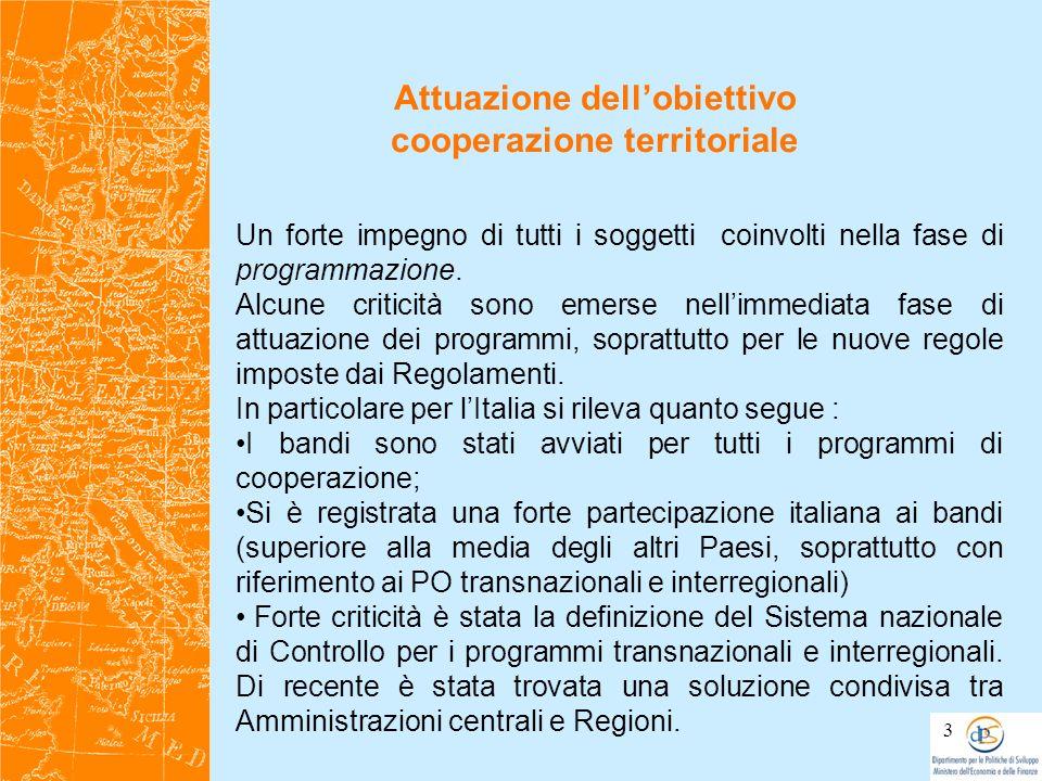 Due programmi di cooperazione territoriale ai quali partecipa lItalia saranno interessati dalla regola del disimpegno nel 2010; Inoltre in molti programmi è in atto una riflessione sulle motivazioni e sulle possibili azioni per le priorità che non hanno avuto un adeguata risposta,in termini progettuali.