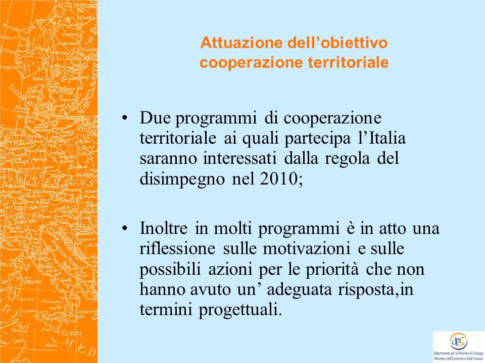 Due programmi di cooperazione territoriale ai quali partecipa lItalia saranno interessati dalla regola del disimpegno nel 2010; Inoltre in molti progr