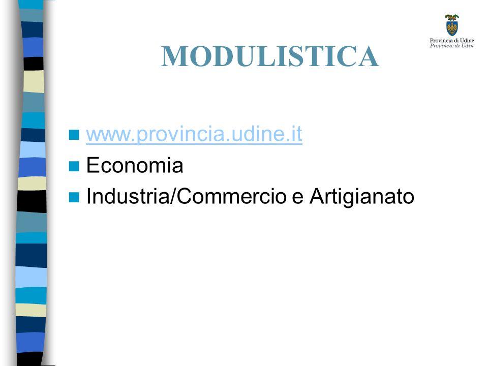 MODULISTICA www.provincia.udine.it Economia Industria/Commercio e Artigianato