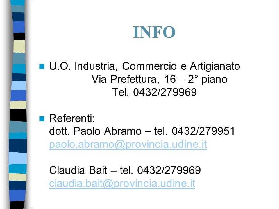 INFO U.O. Industria, Commercio e Artigianato Via Prefettura, 16 – 2° piano Tel.