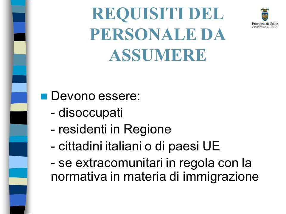 REQUISITI DEL PERSONALE DA ASSUMERE Devono essere: - disoccupati - residenti in Regione - cittadini italiani o di paesi UE - se extracomunitari in regola con la normativa in materia di immigrazione