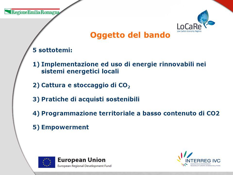 5 sottotemi: 1)Implementazione ed uso di energie rinnovabili nei sistemi energetici locali 2)Cattura e stoccaggio di CO 2 3)Pratiche di acquisti soste